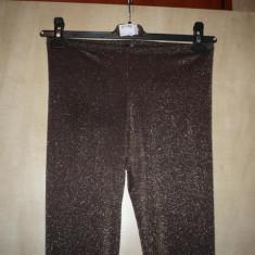 Colanti, Pantaloni din lurex maro/auriu, KIKIRIKI, NOI - Colanti dama, Coffee, Normali