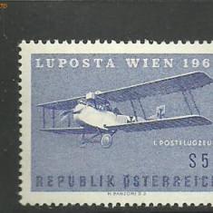 Austria 1961 - POSTA AERIANA AVION IN ZBOR, timbru nestampilat, B34