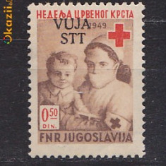Timbre Jugoslavia Triest Zone B Crucea Rosie nestampilate