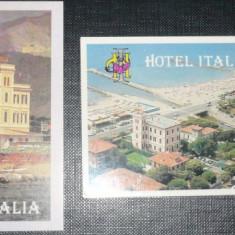 HOTEL ITALIA. 2 ILUSTRATE FORMAT MIC - Cartonas de colectie