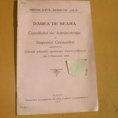 Dare de seama sindicat agricol Olt Slatina 1912