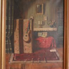 Komaromi Kacz Endre - Interior, pictura veche pe panza pictor maghiar, Natura statica, Ulei, Realism