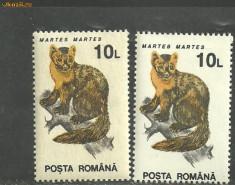 ROMANIA - ANIMALE SALBATICE 10 LEI, timbre MNH pe hartie alba si crem, B35