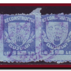 Romania 1947 - Timbru fiscal local Reconstructia Cluj 5 lei in pereche - Timbre Romania, Istorie, Stampilat