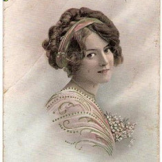T FOTO 36 Romantica -Tanara -circulata 1914 -adresata lui I.Nedelcu , Plutonier Graniceri, Turtucaia , Port(Cadrilater) -Sarsaila