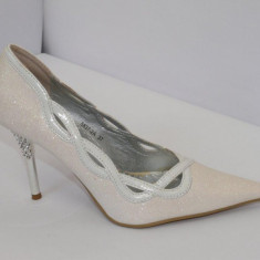 Pantofi albi, ideal pentru mireasa - (Belle Woman 5837-2A white) REDUCERE EXCEPTIONALA DE PRET - Pantof dama, Marime: 35, 36, 38, 40, 41, Cu toc