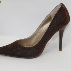 DEOSEBITI ! Pantofi de gala maro, lurex - (Belle Woman 169-1 brown) REDUCERE EXCEPTIONALA DE PRET - Pantof dama, Marime: 35, 36, 38, 39