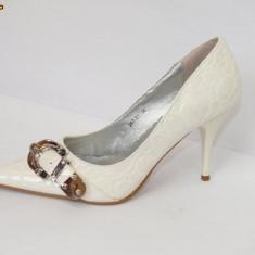 Pantofi albi  cu catarama  - (Belle Woman 257-31 white)  REDUCERE EXCEPTIONALA DE PRET, 36, 39 - 41, Alb, Cu toc