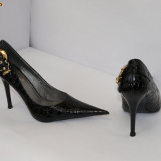 Pantofi dama , negri ,decor catarama - (Belle Woman 269-2 black)  REDUCERE EXCEPTIONALA DE PRET, 38 - 41, Negru, Cu toc