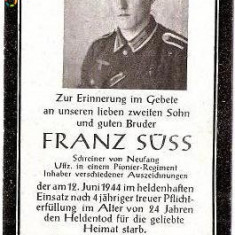 V FOTO 21 Necrolog -Militar german Uffz (subofiter) Franz Suss -Reg. de Pionieri