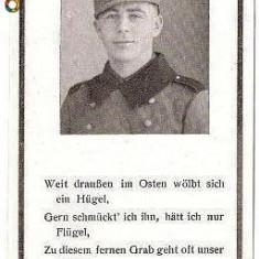 V FOTO 10 Necrolog -Militar german Gefreiter Alois Wensauer, cazut in razboi, 1 April 1944, la varsta de 34 ani-cruce cu zvastica 1939 - Fotografie