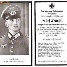 U FOTO 91 Necrolog -Militar german Obergefreiter Josef Dunstl (aviatie?), cazut in razboi, 29 ian 1943, la varsta de 31 de ani -crucea cu zvastica - Fotografie