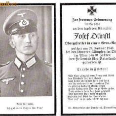 U FOTO 100 Necrolog -Militar german Obergefreiter Josef Dunstl (aviatie?), cazut in razboi, 29 ian 1943, la varsta de 31 de ani -crucea cu zvastica - Fotografie