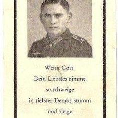 V FOTO 17 Necrolog -Militar german Matthias Weitzbauer ?, cazut in razboi la 30 iun 1944, la varsta de 22 ani -cruce cu zvastica 1939 - Fotografie