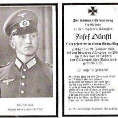 U FOTO 86 Necrolog -Militar german Obergefreiter Josef Dunstl (aviatie?), cazut in razboi, 29 ian 1943, la varsta de 31 de ani -crucea cu zvastica - Fotografie