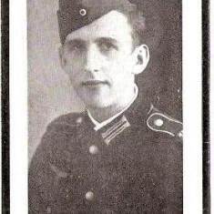 V FOTO 22 Necrolog -Militar german Gefreiter Alois Schiebl ?-Regiment de Grenadieri, cazut in razboi la 14.8.1944, la varsta de 23 ani-cruce zvastica - Fotografie