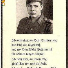 V FOTO 12 Necrolog -Militar german Grenadier Adolf Veit, cazut in razboi, 22. 9. 1944, la varsta de 20 ani -cruce cu zvastica 1939 - Fotografie