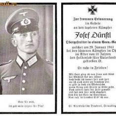 U FOTO 94 Necrolog -Militar german Obergefreiter Josef Dunstl (aviatie?), cazut in razboi, 29 ian 1943, la varsta de 31 de ani -crucea cu zvastica - Fotografie