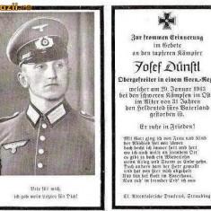 U FOTO 92 Necrolog -Militar german Obergefreiter Josef Dunstl (aviatie?), cazut in razboi, 29 ian 1943, la varsta de 31 de ani -crucea cu zvastica - Fotografie