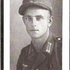 V FOTO 20 Necrolog -Militar german Uffz (subofiter) Karl Gastinger, cazut in razboi la 4 dec 1944, la varsta de 28 ani -Cruce cu zvastica, 1939 - Fotografie