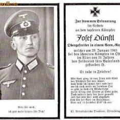 U FOTO 96 Necrolog -Militar german Obergefreiter Josef Dunstl (aviatie?), cazut in razboi, 29 ian 1943, la varsta de 31 de ani -crucea cu zvastica - Fotografie