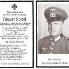 U FOTO 87 Necrolog -Militar german Obergefreiter Rupert Soierl (aviatie?), cazut in razboi, 29 ian 1943, la varsta de 33 de ani -crucea cu zvastica - Fotografie