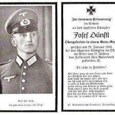 U FOTO 90 Necrolog -Militar german Obergefreiter Josef Dunstl (aviatie?), cazut in razboi, 29 ian 1943, la varsta de 31 de ani -crucea cu zvastica - Fotografie