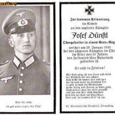 U FOTO 95 Necrolog -Militar german Obergefreiter Josef Dunstl (aviatie?), cazut in razboi, 29 ian 1943, la varsta de 31 de ani -crucea cu zvastica - Fotografie