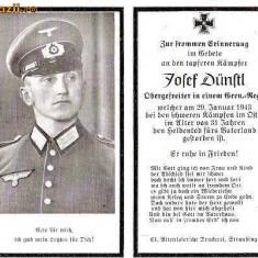 U FOTO 93 Necrolog -Militar german Obergefreiter Josef Dunstl (aviatie?), cazut in razboi, 29 ian 1943, la varsta de 31 de ani -crucea cu zvastica - Fotografie