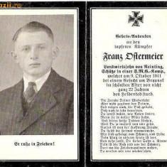 U FOTO 83 Necrolog -Militar german Franz Ditermeier ?, cazut in razboi la 9 oct 1941, la varsta de 22 de ani-sus are crucea germana cu zvastica1939 - Fotografie