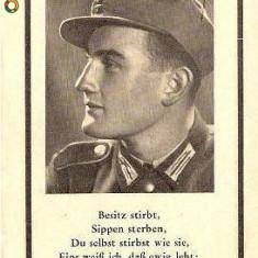 V FOTO 08 Necrolog -Militar german subofiter Sepp Stadler, cazut in razboi, 15 apr 1944, nascut la 13 oct 1921- cruce cu zvastica, 1939 - Fotografie