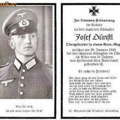 U FOTO 97 Necrolog -Militar german Obergefreiter Josef Dunstl (aviatie?), cazut in razboi, 29 ian 1943, la varsta de 31 de ani -crucea cu zvastica - Fotografie