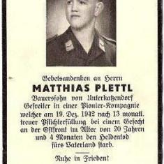 V FOTO 11 Necrolog -Militar german Gefreiter Matthias Plettl, cazut in razboi, - Fotografie