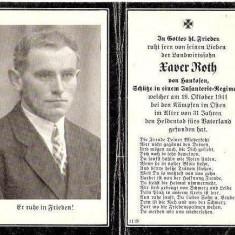 U FOTO 84 Necrolog -Militar german Xaver Roth, cazut in razboi la 19 oct 1941, la varsta de 31 de ani-sus are crucea germana cu zvastica - Fotografie