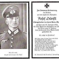 U FOTO 99 Necrolog -Militar german Obergefreiter Josef Dunstl (aviatie?), cazut in razboi, 29 ian 1943, la varsta de 31 de ani -crucea cu zvastica - Fotografie