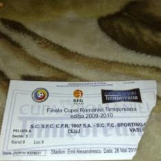 Bilet meci de fotbal - Finala cupei Romaniei Timisoreana - 2009-2010 - CFR  Cluj - SC Vaslui - 26 mai 2010