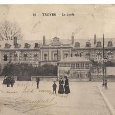Carte postala-TROYES-Le Lycee 1908