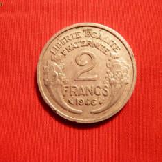 2 Franci, 1946, Franta, Aluminiu, cal F.Buna, d=2, 7cm.