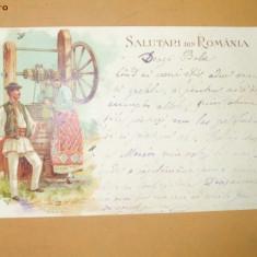 Carte Postala Salutari din Romania Costume populare