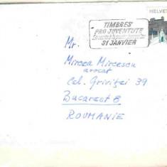 Plic Elvetia, stampila mecanica, Pro Juventute