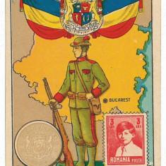 1931 - Harta, Steaguri, MONEDA, timbru - carton de reclama -1924 - Harta Romaniei