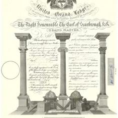 Diploma masonica - Marea Loja a Angliei - litografie