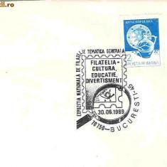 Stampila speciala Exp. Nationala de Filatelie Tematica generala, Filatelia-Cultura, Educatie, divertisment, Bucuresti 30.06.89
