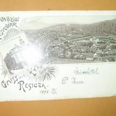 Carte Postala Litografie Salutari din Resita