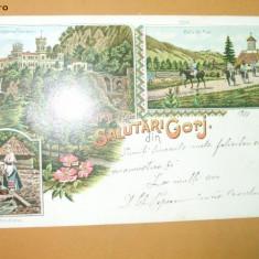 Carte Postala Litografie Salutari din Gorj Tismana, Novacene