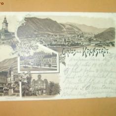 Carte Postala Litografie Salutari din Brasov