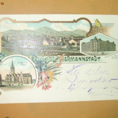 Carte Postala Litografie Salutari din Sibiu Bis. evanghelica