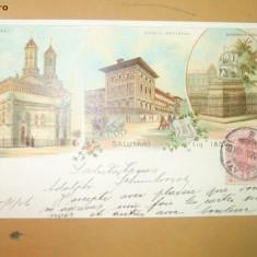 Carte Postala Salutari din Iasi 3 ierarhi, Gh. Asachi - Carte Postala Moldova pana la 1904