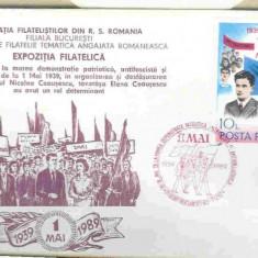 Set plicuri speciale 1 mai 1989, 50 de ani de la prima demonstratie patriotica antifascista si antirazboinica, Bucuresti - Plic Papetarie