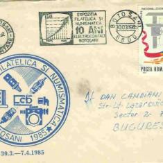 Plic Special Exp. Filatelica si numismatica 10 ani Electrocontact Botosani, Botosani 30.03.1985